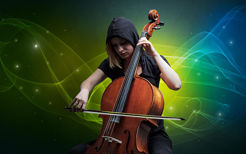 Serious classical cellist with fabled sparkling wallpaper